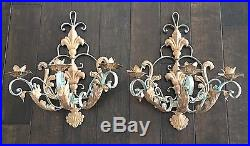 Vtg Wall Sconces Candle Holders 2 French Tole Wrought Iron Metal Gilt/teal 3-arm