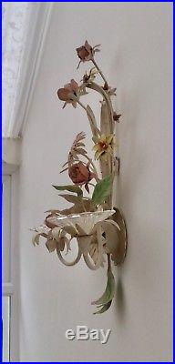 Wall Sconce Hand Made Painted Steel & Glass Floral Bouquet Candle Holder Decor