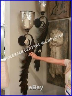 XL 52 Restoration Farmhouse Metal Leaf Amber Glass Wall Sconce Candle Holder