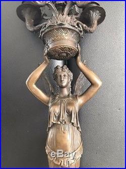 XL Bronze Figure Historicism Sculpture Wall Candle Holder 5 Flammig Vintage